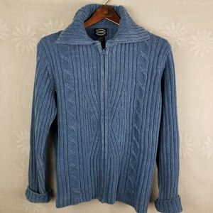 Blue Knit Zip Up Sweater with Large Collar || L